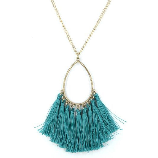 Teardrop Tassel Necklace --Turquoise