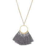 Circle Tassel Necklace --Gray