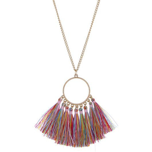 Circle Tassel Necklace --Multi