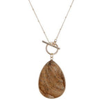 Tear Drop Stone Pendant -- Brown