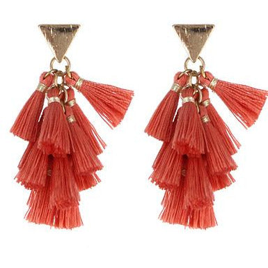 Fabric Tassel Earring -- Coral