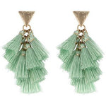 Fabric Tassel Earring -- Mint