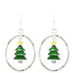 Christmas Tree Hoop Earrings