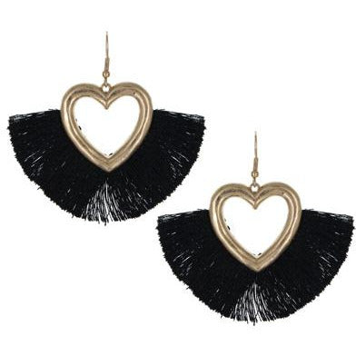 Tassel Heart Earrings -- Black