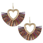 Tassel Heart Earrings -- Multi