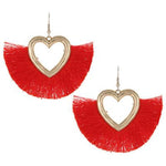 Tassel Heart Earrings -- Red