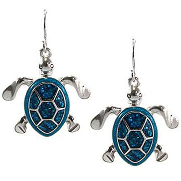 Glitter Turtle Earrings -- Choice of Color