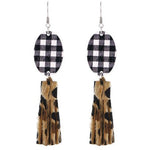 Black & White Plaid Tassel Earring