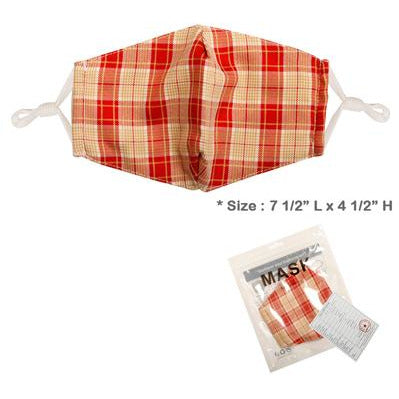Red & Brown Plaid Adjustable Face Mask - Adult