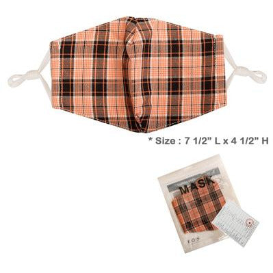 Red Plaid Adjustable Face Mask - Adult