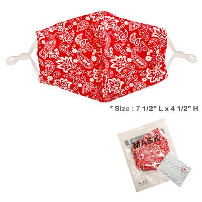 Red Paisley Adjustable Face Mask - Adult