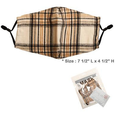 Brown Plaid Adjustable Face Mask - Adult