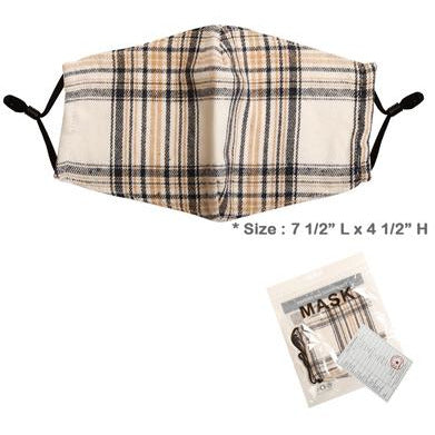 Ivory Plaid Adjustable Face Mask - Adult