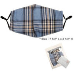 Blue Plaid Adjustable Face Mask - Adult