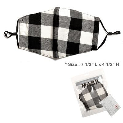 Black and White Plaid Adjustable Face Mask - Adult