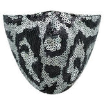 Gray Leopard Sequin Face Mask - Adult