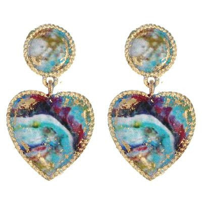 Dangle Heart Earring -- Turquoise