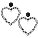 Pearl Heart Earring - Black
