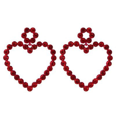 Rhinestone Heart Earring - Red
