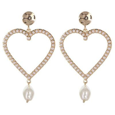 Heart Pearl Dangle Earrings