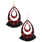 Plaid Tassel Earrings