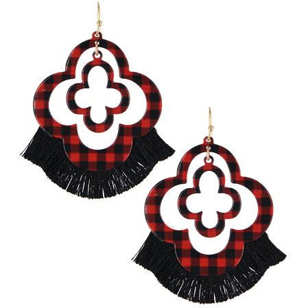 Clover Plaid Earrings -- Red / Black