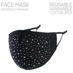 Black Rhinestone Adjustable Face Mask - Adult