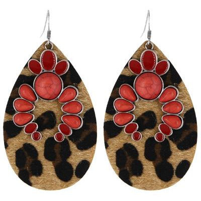Leopard Print Stone Earrings  - Coral
