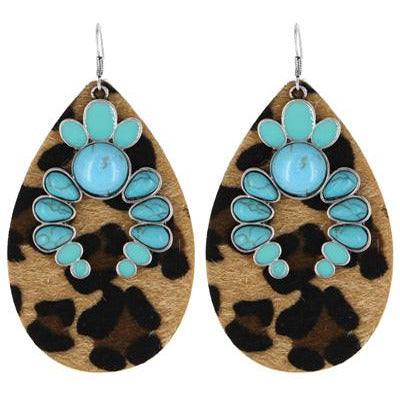 Leopard Print Stone Earrings  - Turquoise