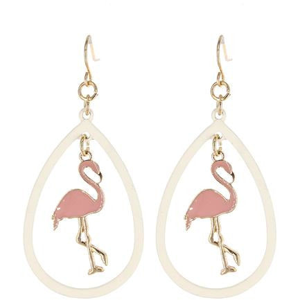 Flamingo Tear Drop Earrings