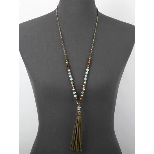 Suede Tassel & Glass Bead Necklace - Olive
