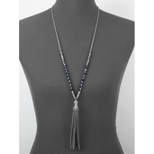 Suede Tassel & Glass Bead Necklace - Gray