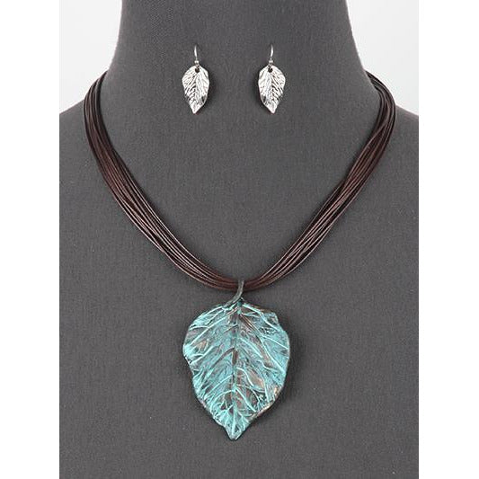 Cord Necklace with Leaf Pendant and Earring Set