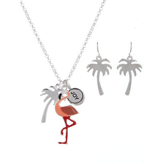 Flamingo and Palm Tree Necklace Set