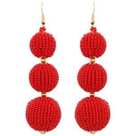 Dallas Seed Bead Ball Drop Earrings -- Choice of Color