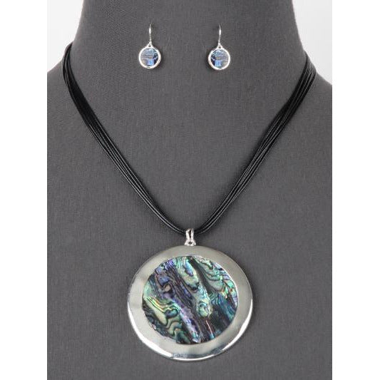 Abalone Pendant Cord Necklace Set