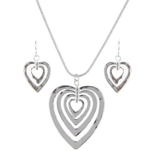 Multi Heart Necklace and Earring Set