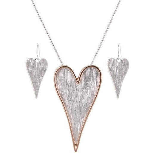 Brushed Textured Heart Necklace Set