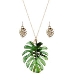 Palm Leaf Print Necklace & Earring Set