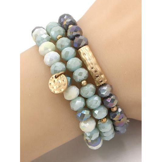 Bar & Disk Beaded Bracelet Set -- Choice of Color