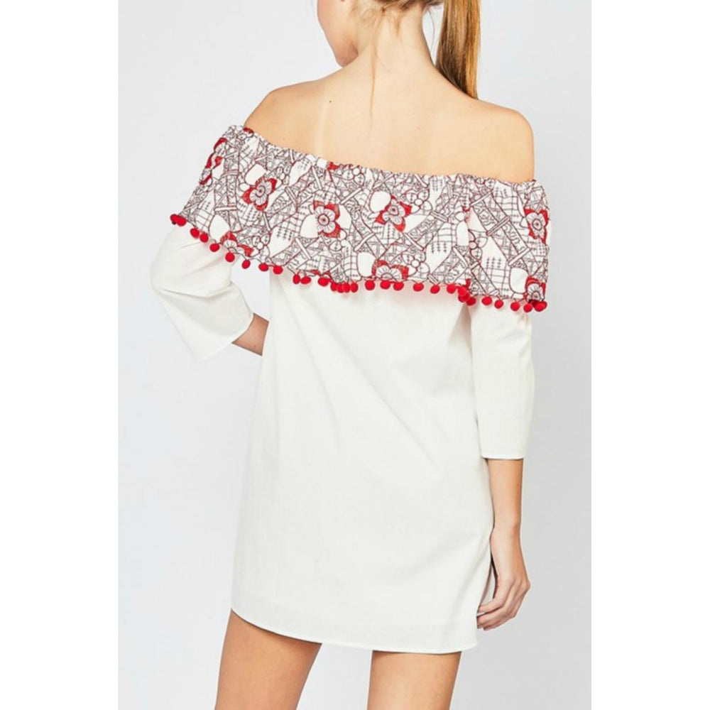 Off Shoulder Embroidery And Pom Pom Detail Dress