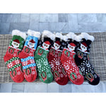 Santa Print Faux Sherpa Slipper Socks -- Choice of Color