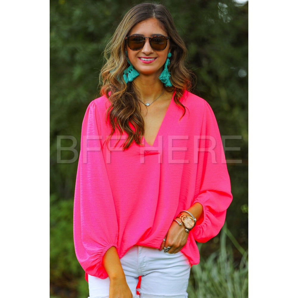Jamie Balloon Sleeve Top -- Hot Pink