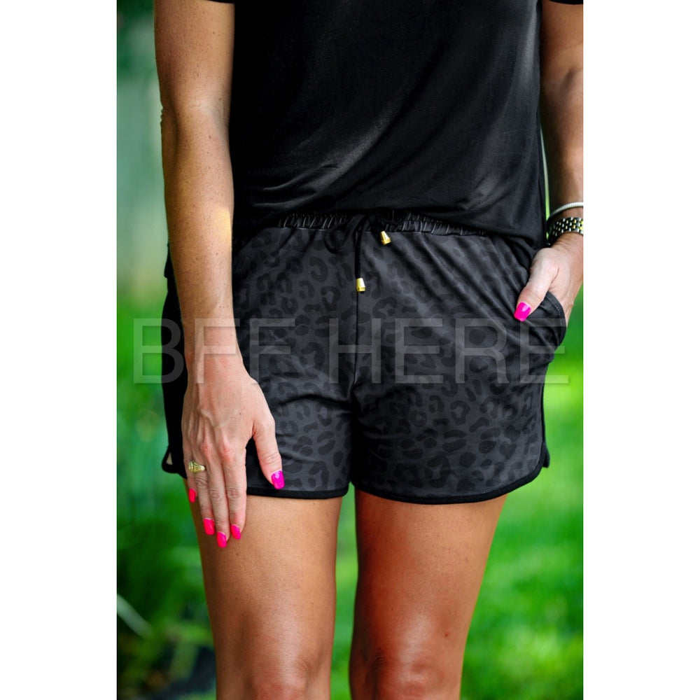 Shiloh Black Leopard Drawstring Everyday Shorts -- Choice of Size