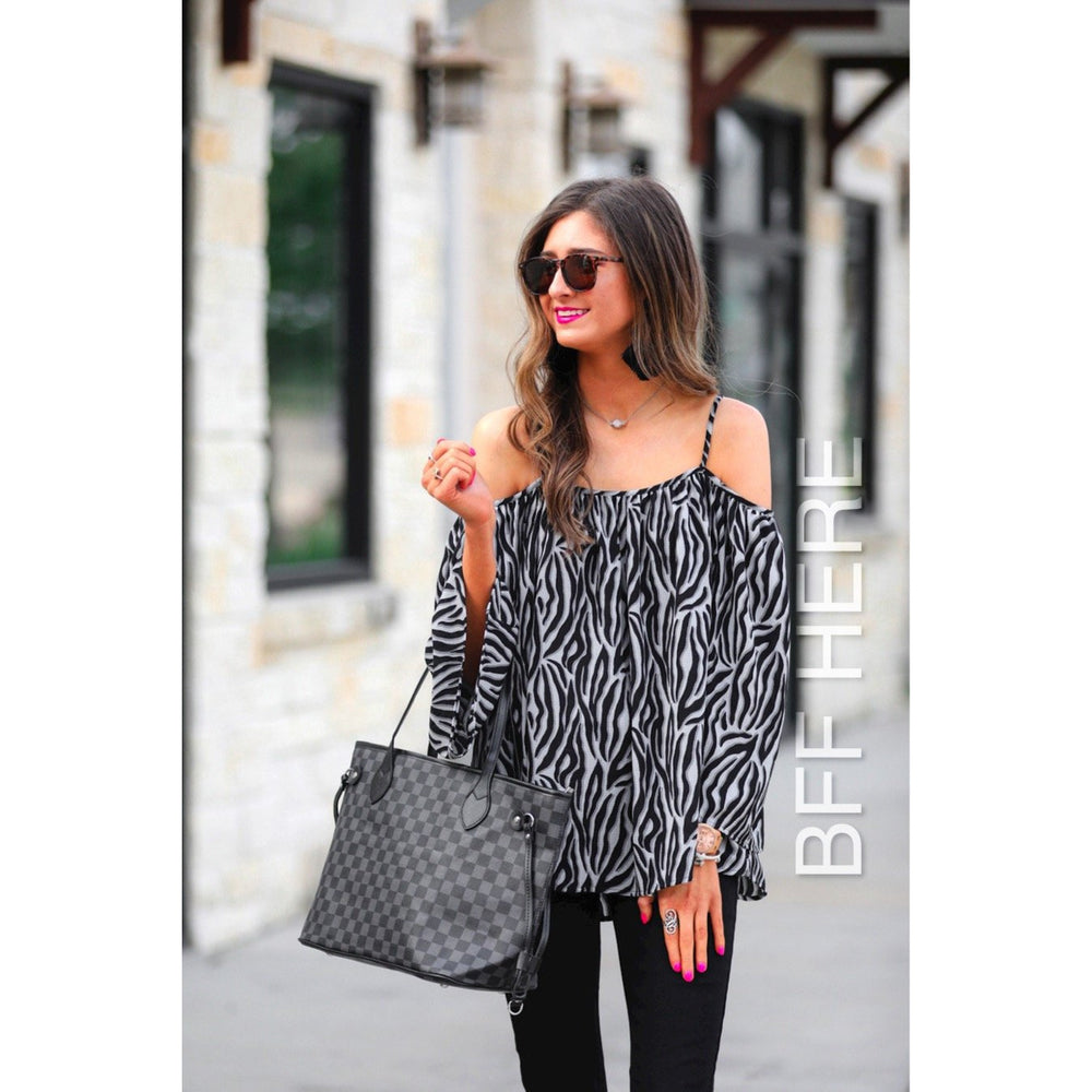 Zane Zebra Cold Shoulder Top -- Choice of Color