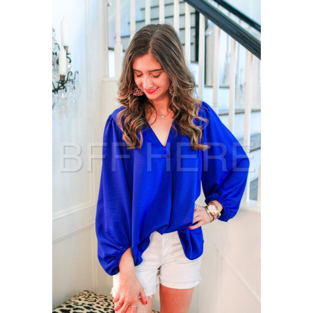 Jamie Balloon Sleeve Top -- Royal Blue
