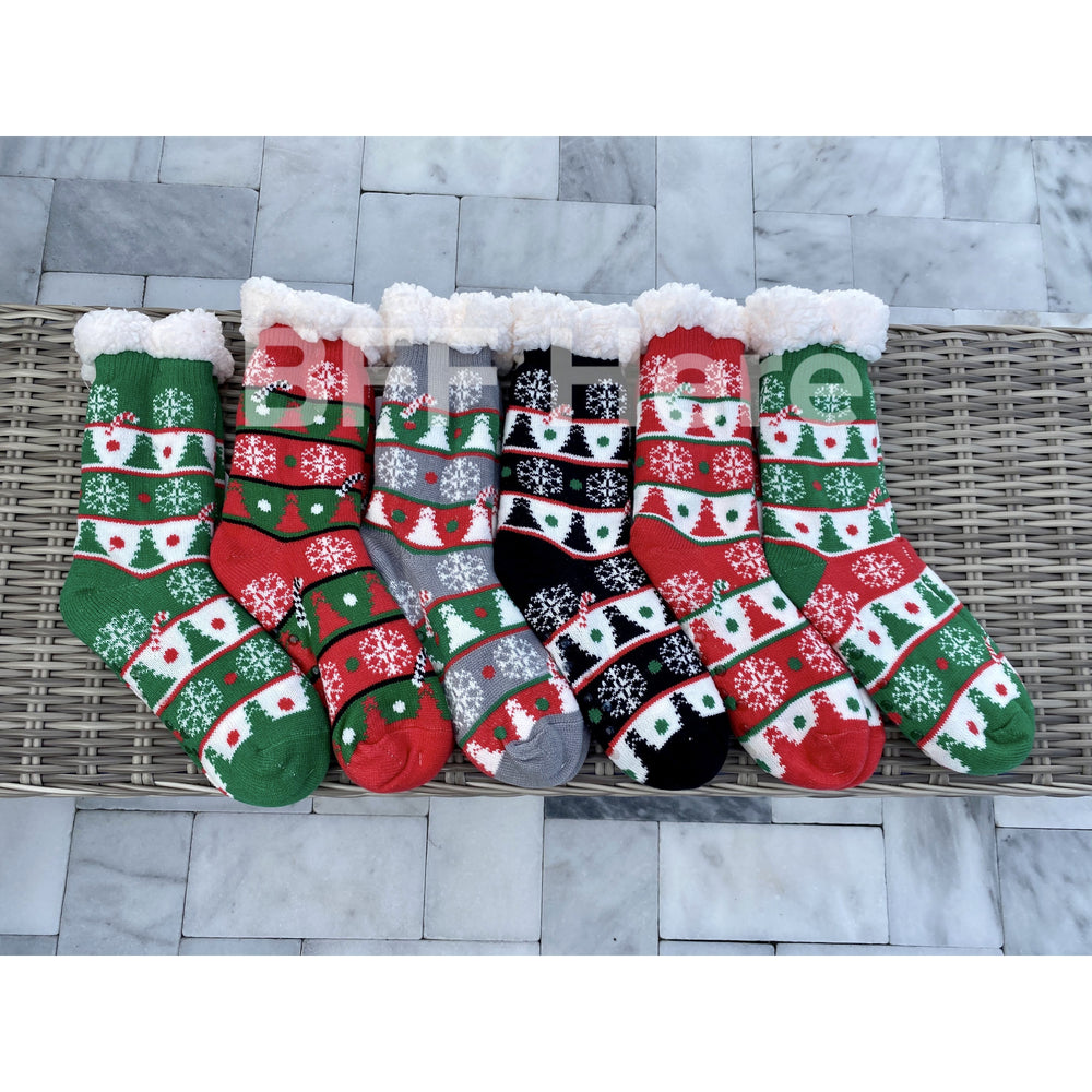 Christmas Tree  Print Faux Sherpa Slipper Socks -- Choice of Color