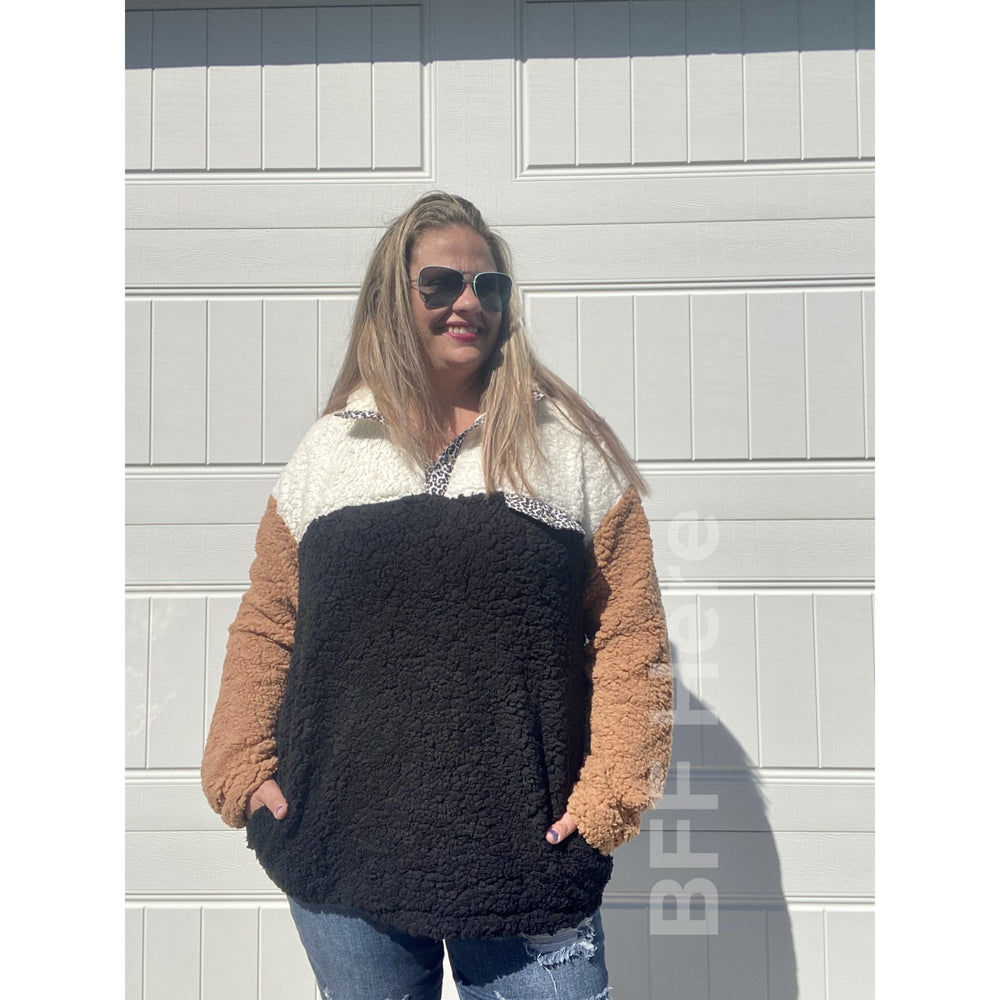 Graham Color Block Sherpa Pullover