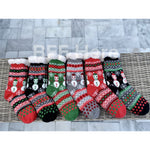 Snowman Print Faux Sherpa Slipper Socks -- Choice of Color