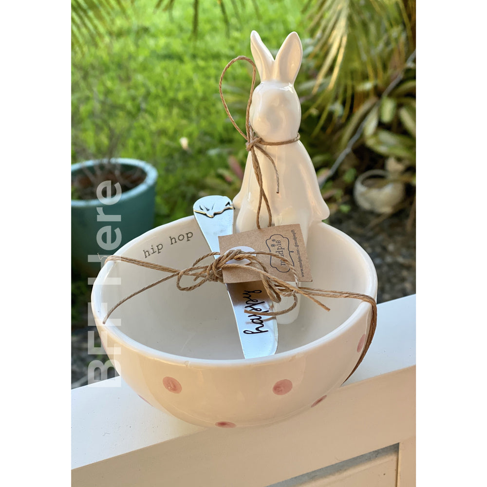 Sitting Bunny Dip Cup by Mud Pie -- Hip Hop Happy